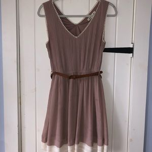 Double Zero Mauve/White Dress With Lace Border